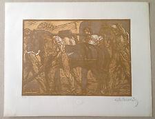 A de CAROLIS Gravure sur bois art deco scene de travail aux champs laboureur