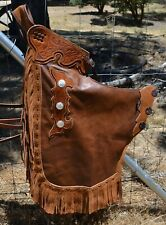 Show Stopper Chinks - Liquor Brown, Floral Tooling, Silver Conchos Suede Trim