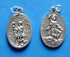 """St Hubert  / St Roch Oxidized Medal (7/8"""" x5/8"""")"""