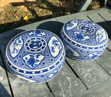 A pair of Blue and white chinese porcelain small chairs