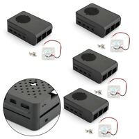4xNoir Bo?tier Bo?te Plastique ABS Shell Fan Case Fan pour Raspberry Pi 4/4B A
