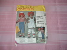 Raggedy Ann & Andy McCALL'S COSTUMES PATTERN #7743 Adults S,M,L - Children 2-12