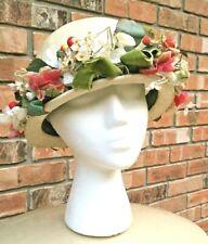 Wonderful Vintage White Ladies Hat w/ Beautiful Colorful Millinery Flowers Berry