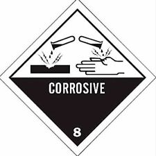 1000 BRADY - CORROSIVE 8 Hazardous Material Labels PAPER ADHESIVE 100mm x 100mm