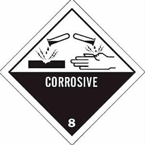 1000 BRADY - CORROSIVE 8 Hazardous Material Labels PAPER ADHESIVE 100mm x 100mm