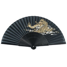 Dragon noir japonais pliable ventilateur