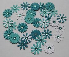 Flower Embellishments Aqua, approx 30 pieces, with Rhinestones