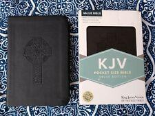 Nib! Kjv Pocket Size Cross Bible Value Ed. Black Lt Red Letter & Helps Magnifier