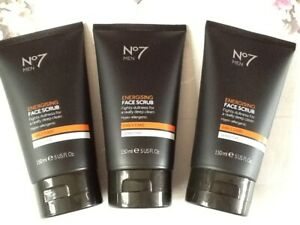 No7 For Men Energising Face Scrub Daily Care Sensitive - 150ml. New X 3