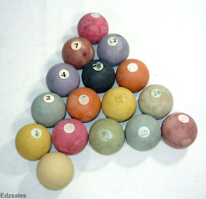 "Vintage Antique Complete Bakelite Pool Ball Set 2 1/8"" Diameter"