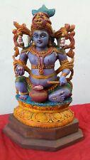 Vintage Krishna Wooden Sculpture Statue Hindu God Temple Handcarved Murti Figure
