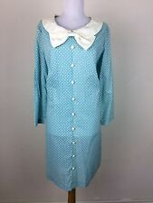 Vintage 1960s Dress Mod Peter Pan Collar Bow Accent Blue Cream Polka Dot Shift L