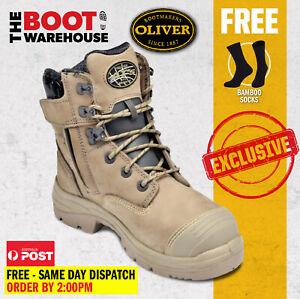 Oliver 55352Z STONE Work Boots, Steel Toe Safety, Side Zip (55332z STONE)