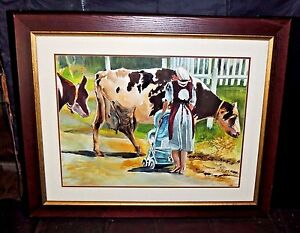 Rare Large Vintage Edith Robbins 99' Watercolor Painting Amish Country - Signed