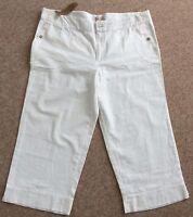 Ladies white linen 3/4 trousers weird fish BNWT size 2XL