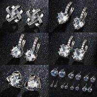 925 Sterling Silver Zircon Stud Earrings Womens Jewellery Wedding Party Gift
