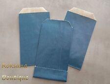 50 Pochettes cadeaux sachets papier kraft bijoux emballage kraft bleu 7x12 cm