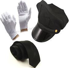 MEN'S BLACK CHAUFFEUR HAT TIE GLOVES LIMO DRIVER FANCY DRESS COSTUME ACCESSORY