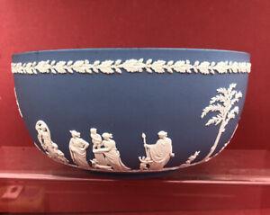 wedgwood jasper ware Beautiful White On Blue Fruit Bowl