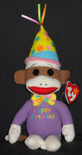 TY HAPPY BIRTHDAY SOCK MONKEY BEANIE BABY - MINT with MINT TAGS