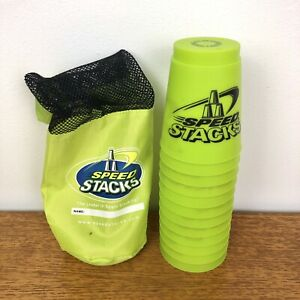 Official Green Speed Stacks Stacking Cups- Full Set 12 Cups- With Bag