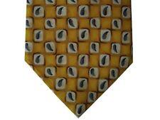 "Perry Ellis Portfolio Men's Silk Neck Tie Gold Paisleys 3 3/4"" x 57"""