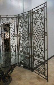 "Maitland Smith 3 Panel Bronze Wall Screen Room Divider 90"" Tall"