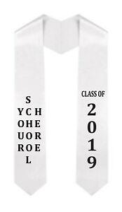 YOUR SCHOOL HERE (VERTICAL) / CLASS OF 2019 GRADUATION STOLE W/ VINYL APPLIQUE