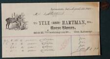 1895 Indianapolis,Indiana Yule and Hartman Horse Shoers receipt-Washington St.!