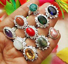 EMERALD AMETHYST MOONSTONE LABRADORITE MIX GEMSTONE SILVER PLATED SZ 6 to 9.5""