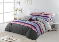 King Size Cotton Reversible Duvet Doona Quilt Cover With Pillowcases Set