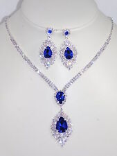 Silver Rhinestone Crystal Clear & Royal Blue Party Necklace and Earrings Set