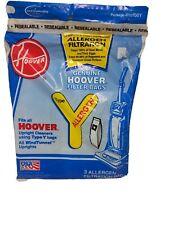 Genuine Hoover Upright Allergen Filtration Type Y Vacuum Cleaner Bags 3 pack