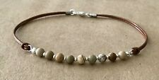 Cord, Silver Plated, Friendship Bracelet Picture Jasper, Golden Brown Leather