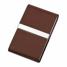 Stainless steel + BROWN Faux Leather Cigarette Case Holder Pocket Box