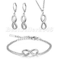 3pcs Charm Silber Edelstahl Infinity Armband Ohrringe Halskette Set Geschenk