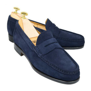 Navy Blue Color Penny Loafer Slip On Suede Genuine Leather Handcrafted Shoes