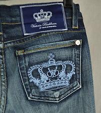 Rock & Republic Victoria Beckham Madrid Blue Crown Jeans 26 USA 200089