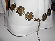 VTG Belt Chain 6 Circle Medallions brass Green Enamel Waist Hip Adjustable Women