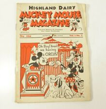 Mickey Mouse Magazine Vol. 1 #7 Giveaway Promo Highland Dairy May 1934