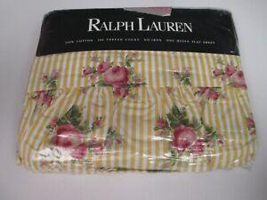 RARE Vintage Ralph Lauren SOPHIE Yellow Floral Ruffled Stripe Flat Sheet - Queen