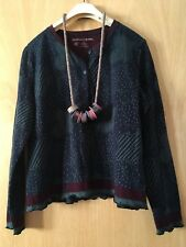 GUDRUN SJODEN LAGENLOOK ARTY QUIRKY UNUSUAL FLORAL KNIT CARDIGAN SIZE L BNWT