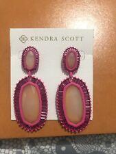 $195 Kendra Scott Laser Cut designer Pink Stones Earrings