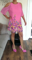 BNWT Gorgeous PINK `Yours`Ladies CHIFFON floral LINED DRESS  size 12-24