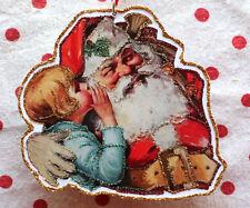 Glittered Wooden Christmas Ornament~ Santa Whisper ~Vintage Card Image~Handmade