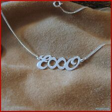 Silber Namenskette m. 2 Großbuchstaben & 1 Unendlich Symbol, Infinity, Sonsuzluk