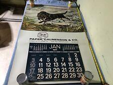 vintage Pacal Steel Paper Calmenson St Paul Minn 1971 Calendar Black Lab Dog pic