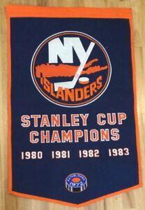 NY Islanders 4x Stanley Cup Champ 24x36 Felt Dynasty Banner W/ Pole Pocket (M348