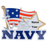 United States Navy Military with US Flag Personalized Christmas Ornament