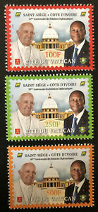 2020 Joint Issue Vatican Ivory Coast Côte d'Ivoire 50 years Pope stamp set
